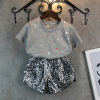 NEW Leopard Kids Summer Fashion Clothes For Girls Paint Points Short Sleeves Pants Suit Grils Student