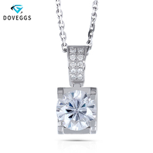 DovEggs 18K White Gold 1.04CTW 6.5mm F Color Near Colorless Moissanite Pendant Necklace with Accents for Women Free Shipping