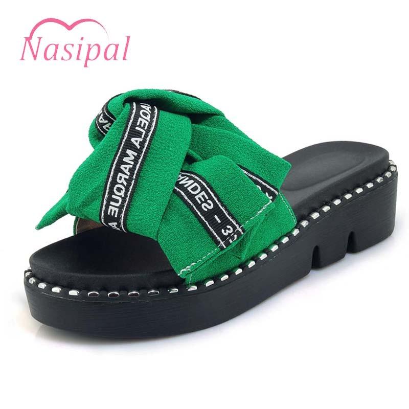 Nasipal Women Shoes Big Bowtie Woman Beach Flip Flops Summer Sandals  Slippers Platform Wedges Heel Big Size 30-44 Black Red C793 - imall.com e39eb481b53a