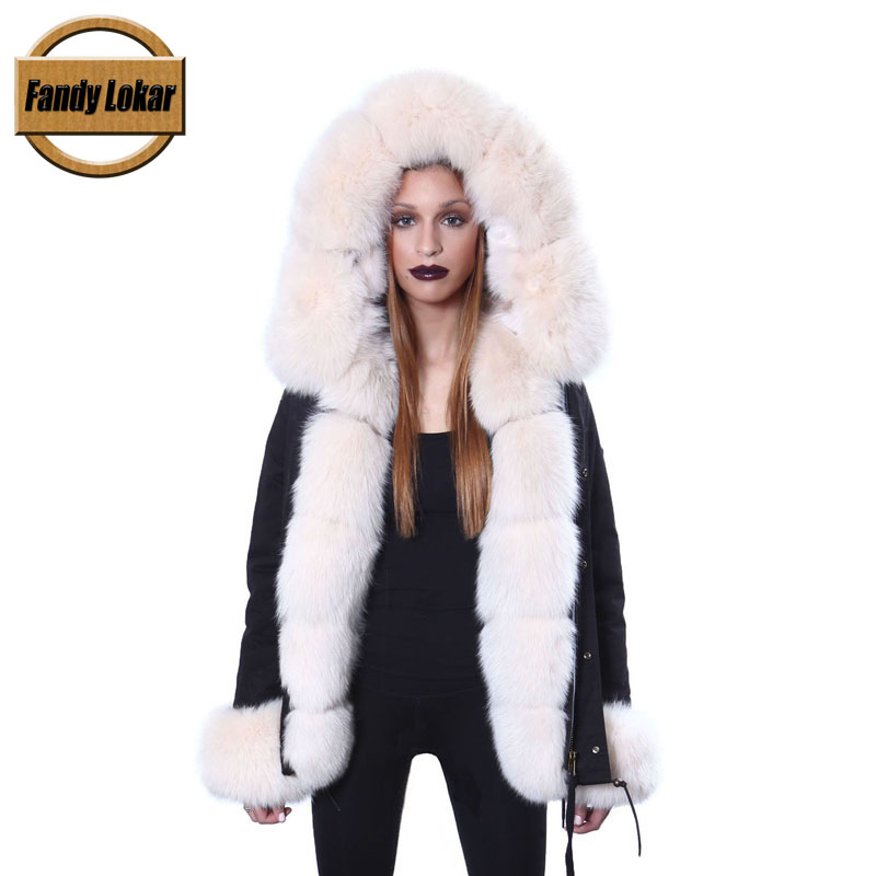 Fandy Lokar FL Winter Women Jacket Fur Parka Fashion Real Fox With Genuine Lining Warm Coats Female Ladies