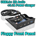 "Super Speed 4 Portas de 20 Pinos USB 3.0 Hub 2.1A Poder HD Áudio Mic Conector Interno para 3.5 ""Painel Frontal Floppy Bay Bracket Cabo"