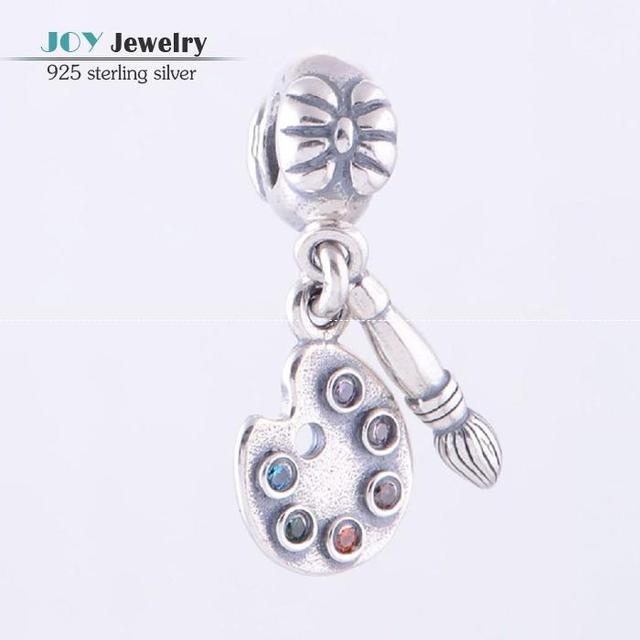 Authentic 925 Sterling Silver Artist's Palette Dangle Charm Pendants With Colorful Cz Fit European Brand Bracelet DIY For Women