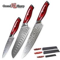 GRANDSHARP 3 Pcs Damascus Knife Set 67 Layers Japanese Damascus Steel Vg10 Chef Japanese Santoku Utility