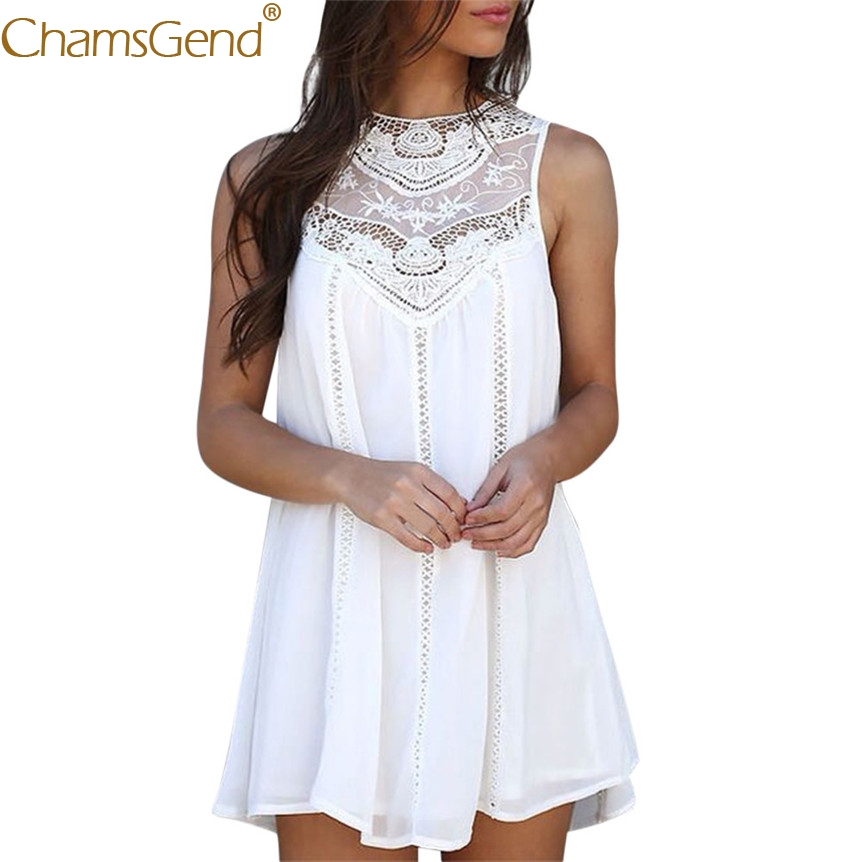 02838ca6460 Detail Feedback Questions about Women Rome Style Round Neck Floral Lace  Dress Summer White Sleeveless Loose Chiffon Mini Dress 80417 on  Aliexpress.com ...