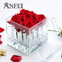 ANFEI New Listing Acrylic Flower Box Eyebrow Pencil Box And Put Cosmetics Makeup Organizer Crisper Gift