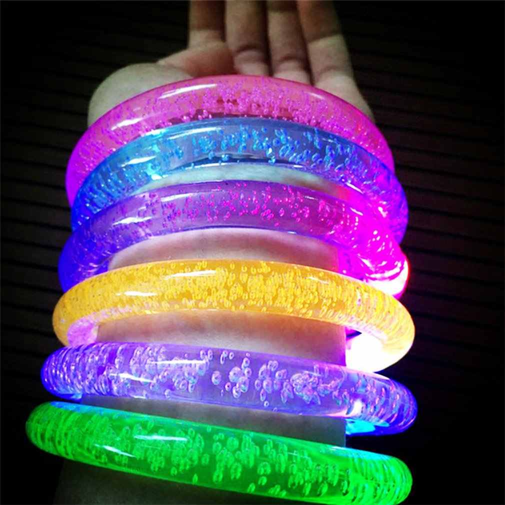 1pcs สร้อยข้อมือ LED Flash แสงสีสันขึ้นกำไลข้อมือ PARTY Favors Light-Up สร้อยข้อมืออะคริลิค LED กระพริบสายรัดข้อมือ