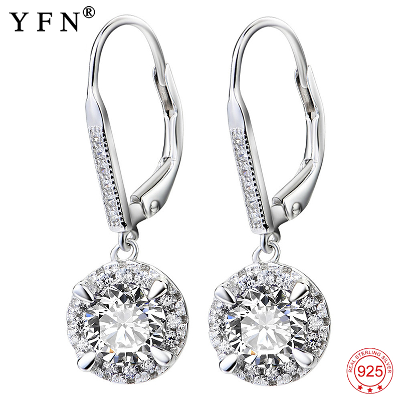 YFN Nyata 925 Sterling Silver Kristal Drop Earrings Fashion Jewelry Putih Cubic Zirconia Earring Wanita Hadiah Perhiasan Anting