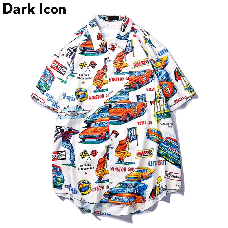 Dark Icon Hawaii Style Shirts Men Turn-down Collar Retro Hip Hop Male Tops