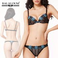 Embroidery Floral Bra Set with Panties Thong Balaloum Sexy Ladies Underwear Comfortable Single breasted Lace Underwear Sets Blue