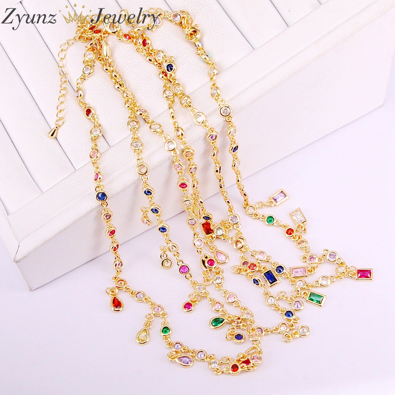 5PCS 2019 cz multi colors rainbow drop square oval round dots choker statement women necklace gold