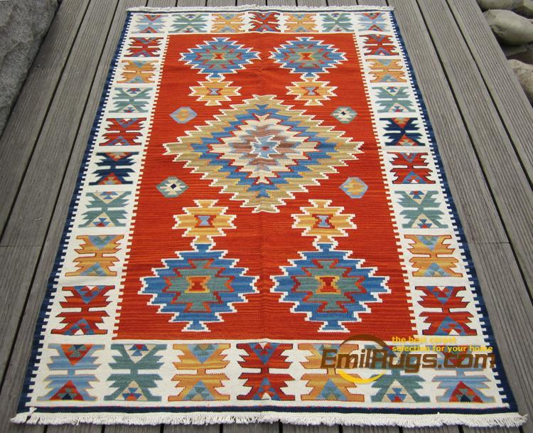 KILIM Hand Woven Wool Carpets Ethnic Style Living Room Coffee Table Bedroom Carpet Turkey And