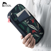 FHEAL Vintage Flowers Printing Travel Passport Storage Bag Portable Documents Package Cash Credit Card ID Holder Money Organizer