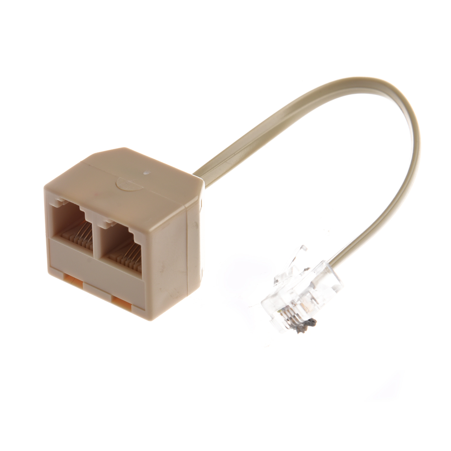 Telephone RJ11 Male Line To Double RJ11 Female Jack Filter Splitter Adapter
