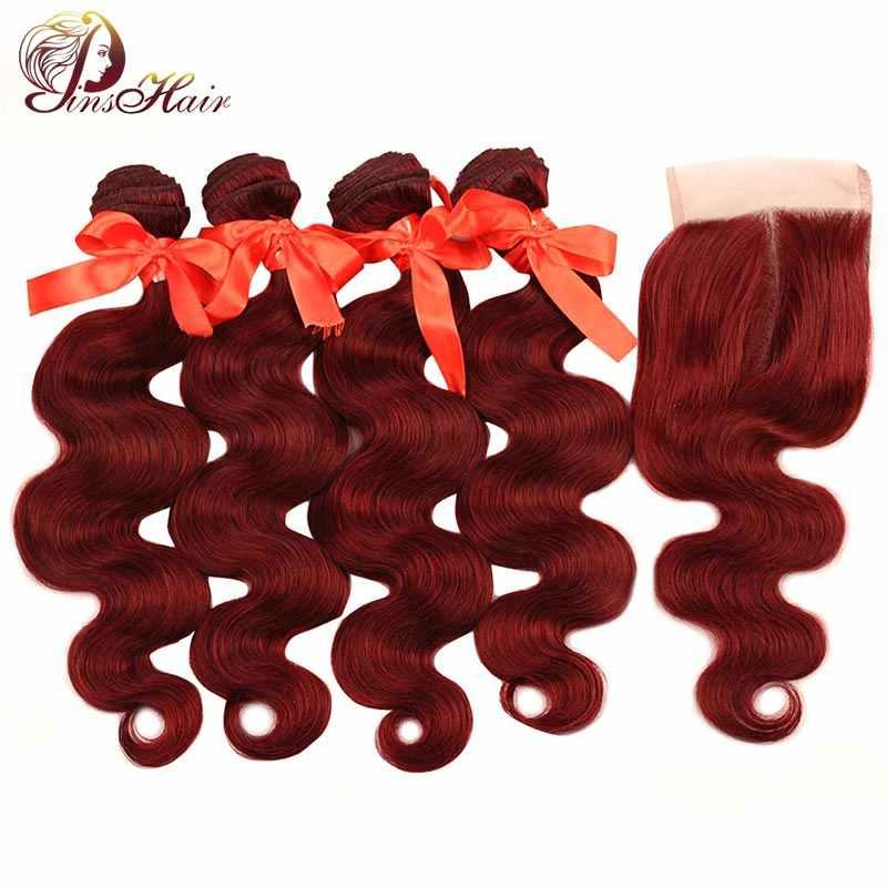 Бордовые пучки с закрытием красные 99J волосы бразильские волнистые 4 пучка с закрытием пучки человеческих волос Pinshair не remy волосы