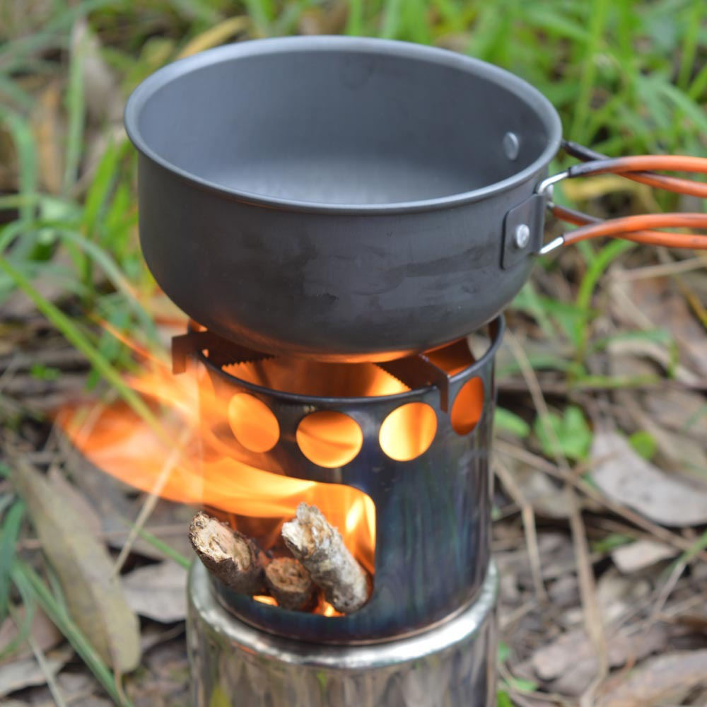 11 pièces multi-fonction randonnée en plein air camping set pot sauvage survie batterie de cuisine avec poêle à bois rouille acier couverts cuillère