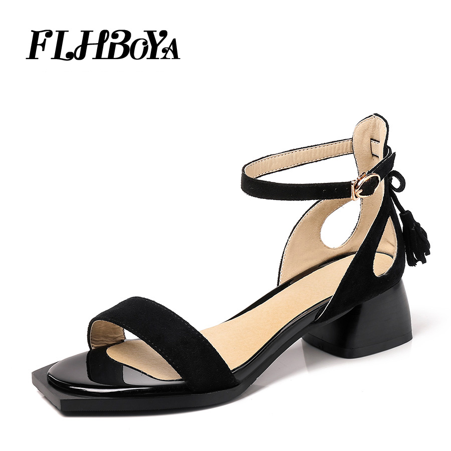 5e798e29e2b Women New Ankle Strap Square Block Heeled Sandals Summer Ladies Tassel Med  High Chunky Heels Shoes Pink Brown Black Femme Sandal