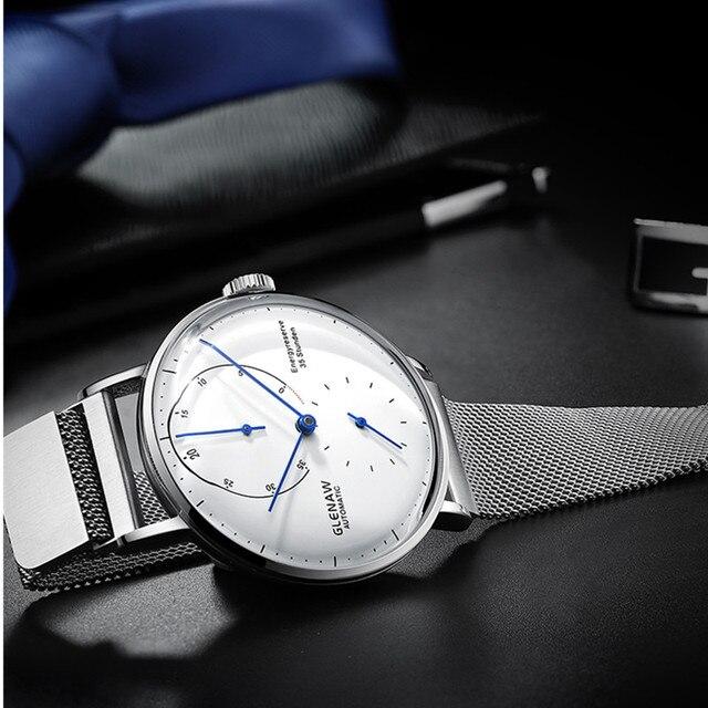 GLENAW montre mécanique hommes montre-bracelet horloge grand cadran étanche montre de sport homme chronographe horloge daffaires avec ceinture en maille