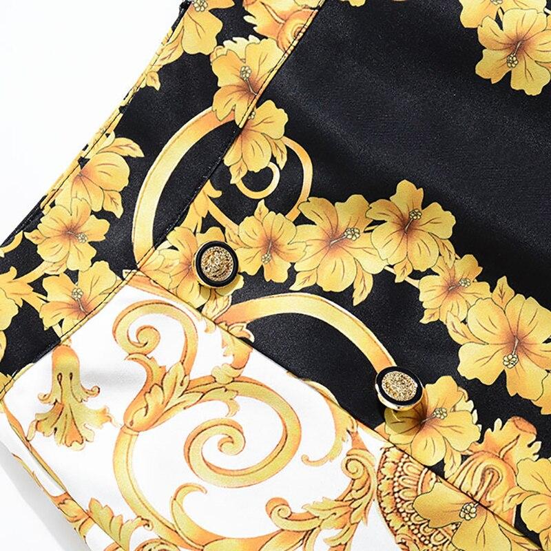 Femmes Turn Pièces Mode 2 Boutons Printemps Costumes Imprimer Vestes Pleine down Ensembles Chaude 2019 Court Manches Qualité De Jupes Col Haute EqOIzww