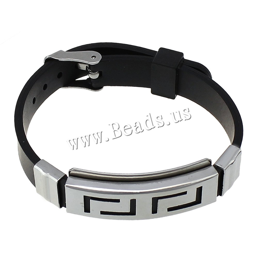 Yyw 2017 Explosion Wristband Black Punk Rubber Silicone Stainless Steel Men  Bracelet Bangles De Silicona Pulseras