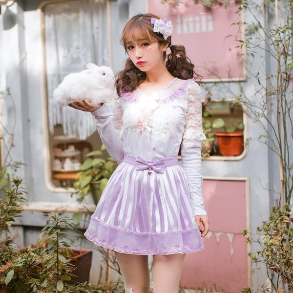 Princess sweet lolita blouse Candy rain Japanese sweet shirt long sleeved chiffon shirt female backing hollow jacket C22AB7014(China)