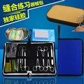 Estudiantes de medicina práctica paquete de instrumentos de sutura quirúrgica, kit de sutura con modelo de la piel de silicona