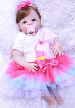 Boneca bebe reborn lol Dolls 23inch Full silicone reborn baby doll real children gift reborn toddler dolls toys