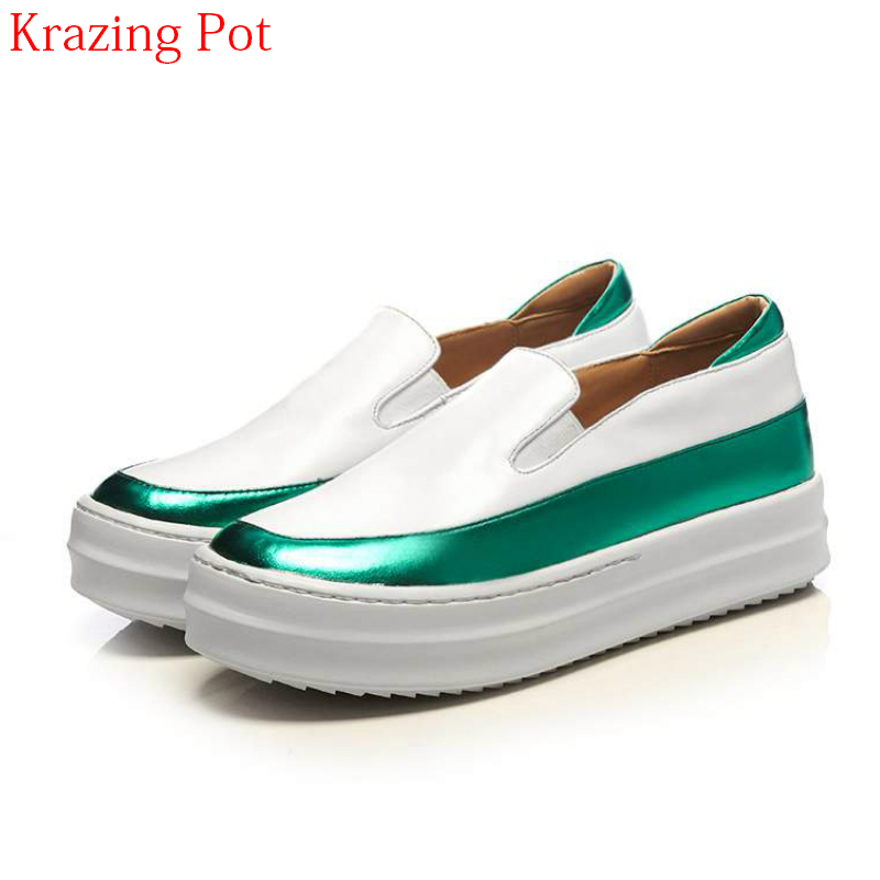 2018 Superstar Cow Leather Mixed Colors Round Toe Sneaker Causal Shoes Colorful Oriental Women Vulcanized Platform Shoes L66