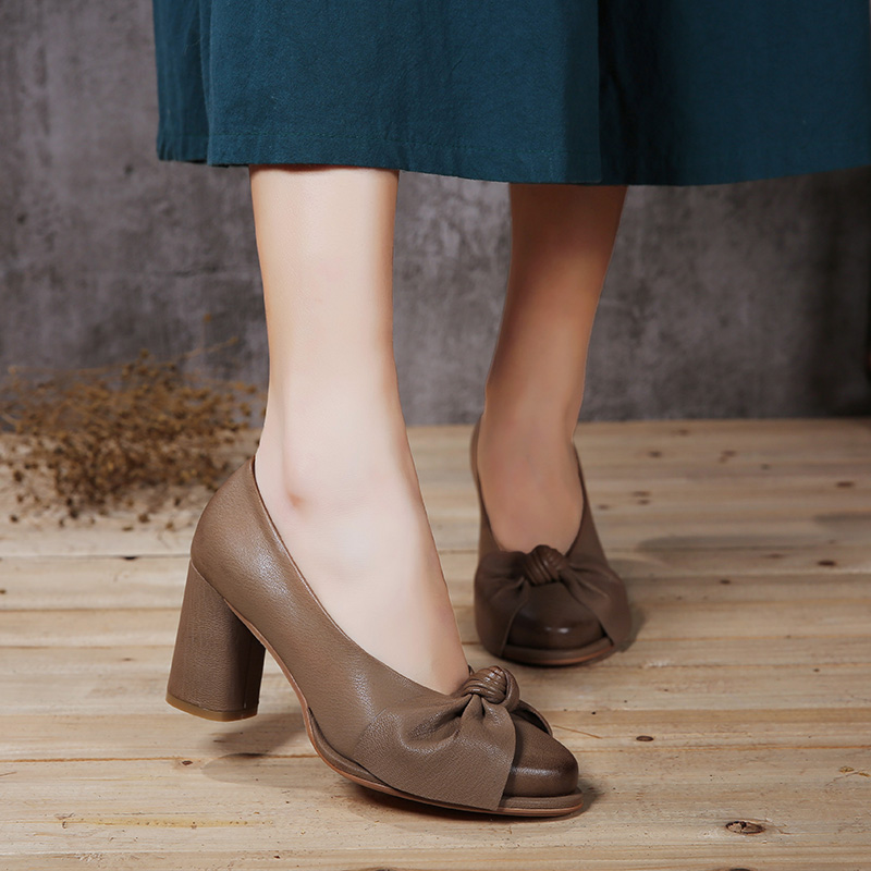 2019 Spring New Arrival High Heels Women Shoes Genuine Leather Female Pumps Butterfly Knot Chunky Heels