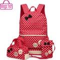 Magic fish bolsas escolares para adolescentes niñas mochila set las mujeres de hombro bolsas de viaje 3 unids/set mochila mochila mochilas lm3582mf