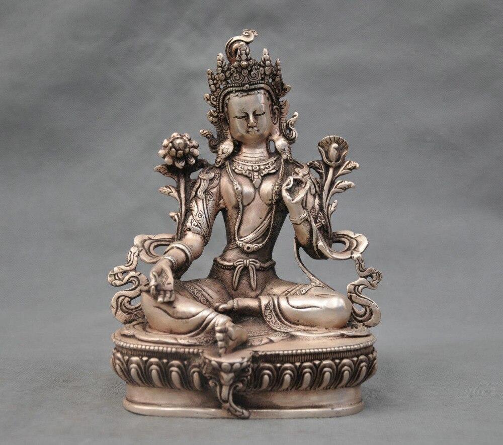 8 China Silver Bronze Buddhism Green Tara Bodhisattva Bronze Statue8 China Silver Bronze Buddhism Green Tara Bodhisattva Bronze Statue