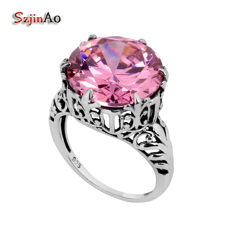 Szjinao Manufacturers Wholesale Fashion Perle Culture Antiques Engagement Jewelry Pink CZ 925 Women Sterling Silver Love Ring
