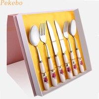 Pekebo 6 teile/satz messer und gabel geschirr sets edelstahl Geschirr besteck abendessen speisesaal luxus verpackung