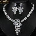 Игристое формы цветка кубический циркон ну вечеринку аксессуары белый позолоченный CZ алмаз большой люкс серьги ожерелья T244