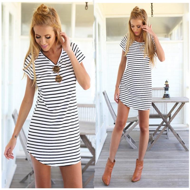 5f3cf163e Summer Style 2017 New Women Dress Casual Loose Black White Striped Dresses  Short Sleeve O Neck Mini Vestidos Plus Size