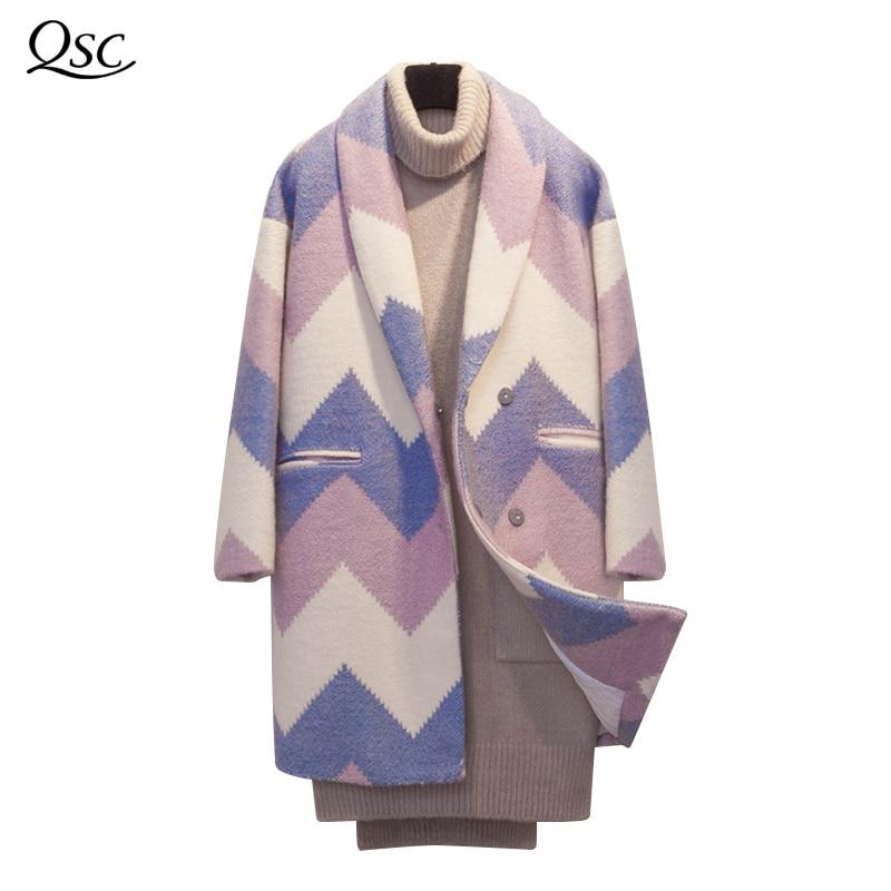 Datos históricos QSC otoño capa abrigo Mujeres Nuevo 2018 de moda de manga larga abrigo de invierno primavera Oficina engrosamiento cuello abrigo