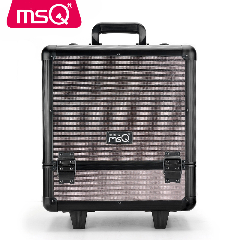 MSQ Beauty Case With Wheels Professional Makeup Suitcase Makeup Box Protable Waterproof Draw Bar Box Multilayer Beauty Tools bonfanti beauty case