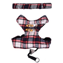 Scottish Kilt Design Dog Harness Pet Puppy Cat Kitten Vest 125cm Walking Training Leash Dropshipping