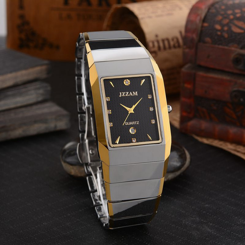Prostokąt Stylu JZZAM Luksusowej Marki Zegarek Klasyczny Mężczyzna Wolframu stali Zegarek Kwarcowy Rhinestone Mężczyzna Zegar Eleganckie Zegarki Mężczyzn w Zegarki kwarcowe od Zegarki na  Grupa 2