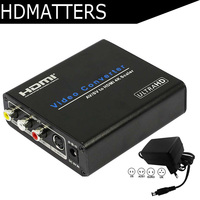 Composite RCA AV to HDMI 4K Converter scaler CVBS+L/R+S video in to HDMI out with power supply