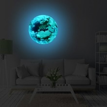 3D Luminous blue Earth Pattern Self adhesive DIY Glowing Planets Wall Sticker for Kids Room Nursery Living Room Home Decoraions home decorative london twin bridge night glowing sticker luminous decals for couples room