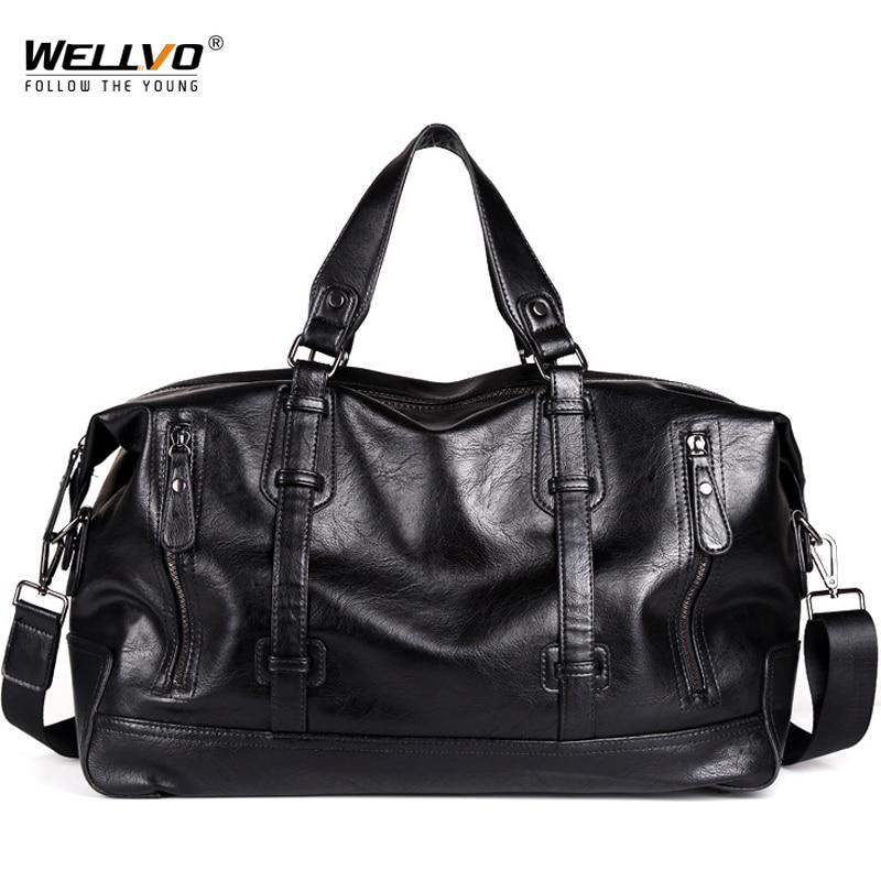 High Quality PU Leather Men Travel Duffle Bag Round Bucket Luggage Handle Bag Men's Shoulder Crossbody Bag sac de voyage XA78WC все цены