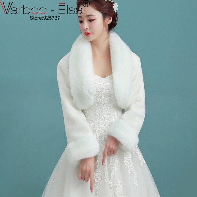 VARBOO ELSA Winter Wrap Coat Ivory Wedding Dress Shrugs Jacket Bridal Bolero Stole Faux Warm Fur