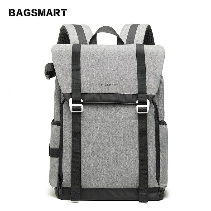 BAGSMART Новый DSLR Камера Рюкзак Ретро Камера сумка Серый Путешествия Камера рюкзак фотографии сумка с мягким пользовательские делителей