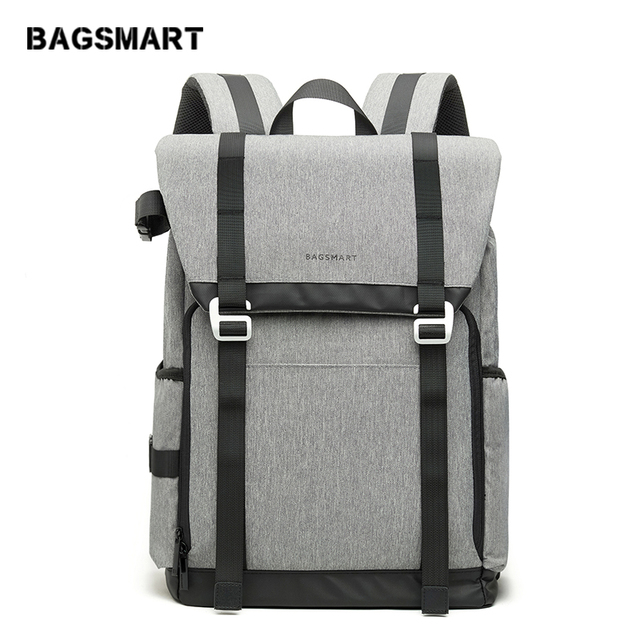 BAGSMART New DSLR Camera Backpack Retro Camera Bag Grey Travel Camera Backpack Photography Bag with Padded Custom Dividers