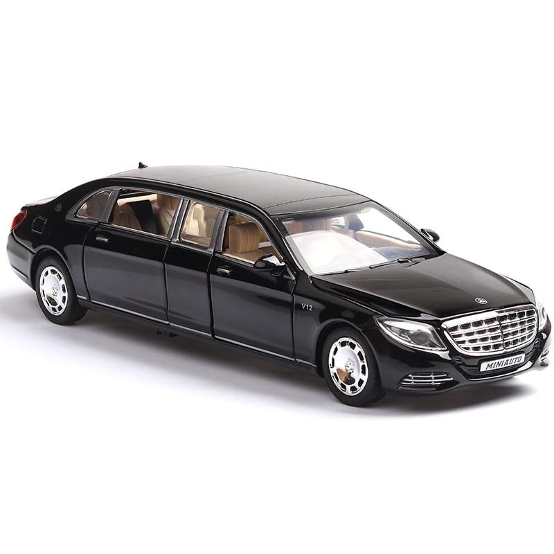1:32 Игрушечный Автомобиль Maybach S650 расширенное издание, металлическая Игрушечная машина из сплава, литой и игрушечный автомобиль, модель авто...