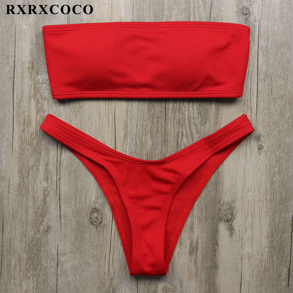 RXRXCOCO 2018 Bikini Set 5 Colors Bandeau Swimsuit Women Sexy Push Up Bandage Swimwear Brazilian Bikini Biquinis Beachwear Suits cooclo 2018 hot sale floral print bikini halter bandeau top sexy bikini set women swimwear biquinis brazilian new style swimsuit