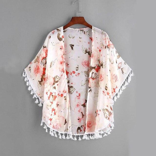 Trẻ em Chiffon Cardigan Mùa Hè Bé Tassel Áo Trang Phục Toddler Cô Gái Hoa Baby Kimono Áo Khoác Áo Sơ Mi