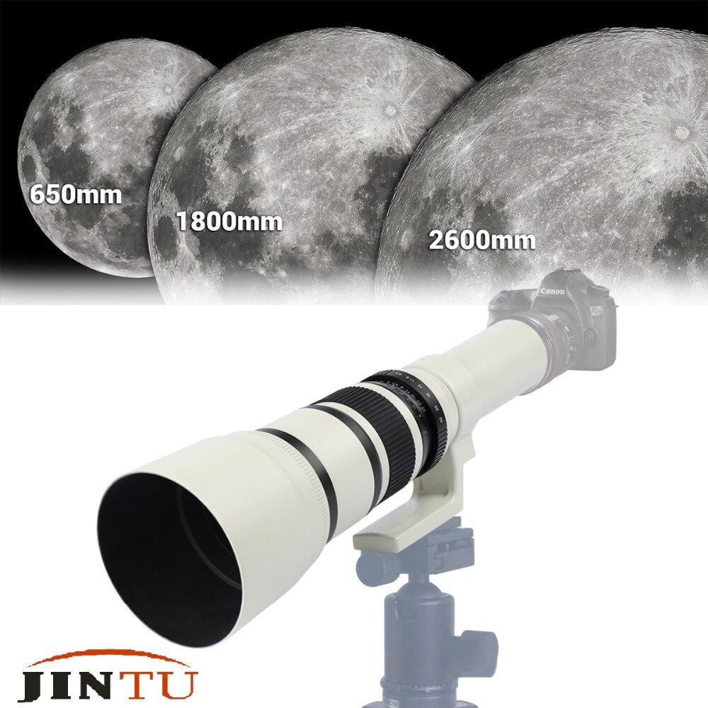JINTU 500mm f/6.3 Téléobjectif Fixe Focale fixe + T2 Adaptateur pour Appareil Photo Canon EOS 1300D 1200D 1100D 60D 70D 80D 7D 750D 800D 5DII - 2