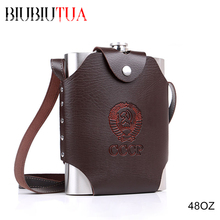 BIUBIUTUA 48oz Big Capacity Military Stainless Steel Hip Flask CCCP Whiskey Flask With Removable Leather Holster