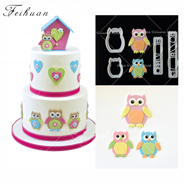 4pcs Set Cute Owl Cookie Cutter 3D Pastry Biscuit Fondant Cake Baking Mold DIY Birthday Decorating Tools Chocolate